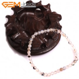 """G10767 4mm Round Gray Leaf Agate Natural Stone Healing Elastic Stretch Energy Bracelet 7"""" Fashion Jewelry Bracelets for Women"""