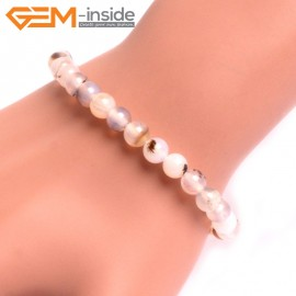 """G10768 6mm Round Gray Leaf Agate Natural Stone Healing Elastic Stretch Energy Bracelet 7"""" Fashion Jewelry Bracelets for Women"""