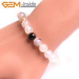 """G10769 8mm Round Gray Leaf Agate Natural Stone Healing Elastic Stretch Energy Bracelet 7"""" Fashion Jewelry Bracelets for Women"""
