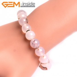 """G10770 10mm Round Gray Leaf Agate Natural Stone Healing Elastic Stretch Energy Bracelet 7"""" Fashion Jewelry Bracelets for Women"""