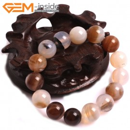 """G10771 12mm Round Gray Leaf Agate Natural Stone Healing Elastic Stretch Energy Bracelet 7"""" Fashion Jewelry Bracelets for Women"""