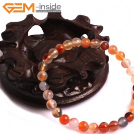 "G10772 6mm Round  Red Leaf Agate Natural Stone Healing Elastic Stretch Energy Bracelet 7"" Fashion Jewelry Bracelets for Women"