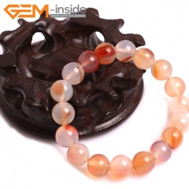"""G10774 10mm Round  Red Leaf Agate Natural Stone Healing Elastic Stretch Energy Bracelet 7"""" Fashion Jewelry Bracelets for Women"""