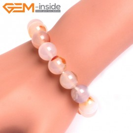 "G10775 12mm Round  Red Leaf Agate Natural Stone Healing Elastic Stretch Energy Bracelet 7"" Fashion Jewelry Bracelets for Women"