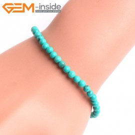 """G10782 4mm Round Blue Turquoise Natural Stone Healing Brcelet 7""""  Fashion Jewelry Jewellery Bracelets  for Women"""