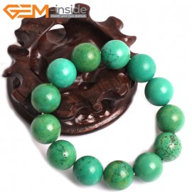 """G10795 16mm Round Green Turquoise Natural Stone Healing Brcelet 7"""" Fashion Jewelry Jewellery Bracelets for Women"""