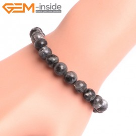 "G10802 6mm Round Black LarvikiteNatural Stone Elastic Stretch Healing Brcelet 7"" Fashion Jewelry Jewellery Bracelets for Women"
