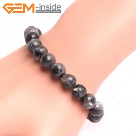 "G10803 8mm Round Black LarvikiteNatural Stone Elastic Stretch Healing Brcelet 7"" Fashion Jewelry Jewellery Bracelets for Women"