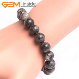 "G10804 10mm Round Black LarvikiteNatural Stone Elastic Stretch Healing Brcelet 7"" Fashion Jewelry Jewellery Bracelets for Women"