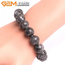 "G10805 12mm Round Black Larvikite Natural Stone Elastic Stretch Healing Brcelet 7"" Fashion Jewelry Jewellery Bracelets for Women"