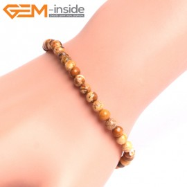 "G10806 4mm Round Picture Jasper Natural Stone Elastic Stretch Healing Brcelet 7"" Fashion Jewelry Jewellery Bracelets for Women"