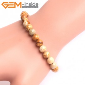"G10807 6mm Round Picture Jasper Natural Stone Elastic Stretch Healing Brcelet 7"" Fashion Jewelry Jewellery Bracelets for Women"