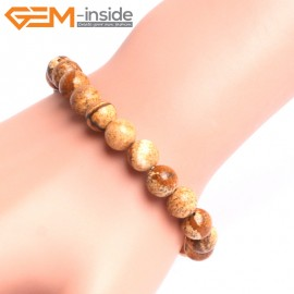 "G10808 8mm Round Picture Jasper Natural Stone Elastic Stretch Healing Brcelet 7"" Fashion Jewelry Jewellery Bracelets for Women"