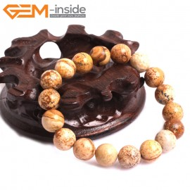 "G10809 10mm Round Picture Jasper Natural Stone Elastic Stretch Healing Brcelet 7"" Fashion Jewelry Jewellery Bracelets for Women"
