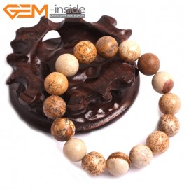 "G10810 12mm Round Picture Jasper Natural Stone Elastic Stretch Healing Brcelet 7"" Fashion Jewelry Jewellery Bracelets for Women"