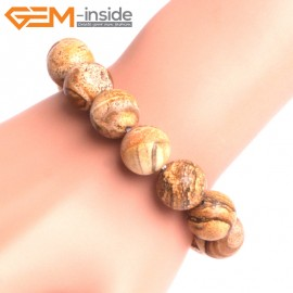 """G10811 14mm Round Picture Jasper Natural Stone Elastic Stretch Healing Brcelet 7"""" Fashion Jewelry Jewellery Bracelets for Women"""