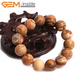 "G10811 14mm Round Picture Jasper Natural Stone Elastic Stretch Healing Brcelet 7"" Fashion Jewelry Jewellery Bracelets for Women"
