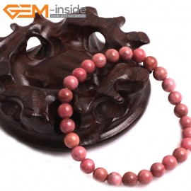 "G10812  6mm Round Pink Rhodonite Natural Stone Elastic Stretch Healing Bracelet 7"" Fashion Jewelry Jewellery Bracelets for Women"