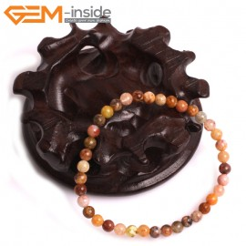 """G10832 4mm Round Mixed Color Ocean Jasper Natural Stone Elastic Stretch Healing Bracelet 7"""" Fashion Jewelry Jewellery Bracelets for Women"""