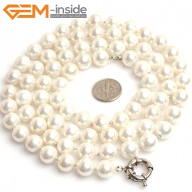 "G10843 10mm Round White Shell Pearl Gemstone Birthstone Long Necklaces Fashion Jewelry 36"" Fashion Jewelry Jewellery Bracelets for Women"