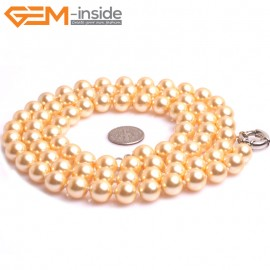 "G10844 10mm Round Yellow Shell Pearl Gemstone Birthstone Long Necklaces Fashion Jewelry 36"" Fashion Jewelry Jewellery Bracelets for Women"