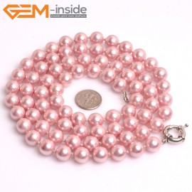 "G10847 10mm Round Light Magenta Shell Pearl Gemstone Birthstone Long Necklaces Fashion Jewelry 36"" Fashion Jewelry Jewellery Bracelets for Women"