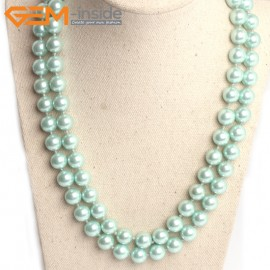 "G10849 10mm Round Light Green Shell Pearl Gemstone Birthstone Long Necklaces Fashion Jewelry 36"" Fashion Jewelry Jewellery Bracelets for Women"