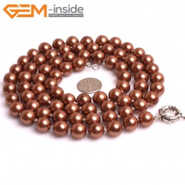 "G10851 10mm Round Brown Shell Pearl Gemstone Birthstone Long Necklaces Fashion Jewelry 36"" Fashion Jewelry Jewellery Bracelets for Women"