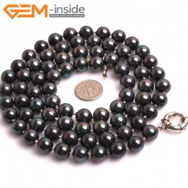 "G10854 10mm Round Lredescent Black Shell Pearl Gemstone Birthstone Long Necklaces Fashion Jewelry 36"" Fashion Jewelry Jewellery Bracelets for Women"