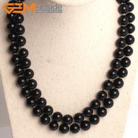 "G10855 10mm Round Black Shell Pearl Gemstone Birthstone Long Necklaces Fashion Jewelry 36"" Fashion Jewelry Jewellery Bracelets for Women"