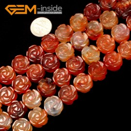 "G1103 12mm (Red Carnelian) Flower Shape Gemstone DIY Jewelry Making Beads Strand 15"" Free Shipping Natural Stone Beads for Jewelry Making Wholesale"