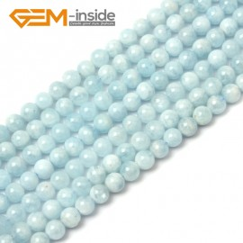 "G1267 7mm Round Gemstone Blue Aquamarine DIY Jewelry Making  Beads Strand 15""Free Shipping Natural Stone Beads for Jewelry Making Wholesale"