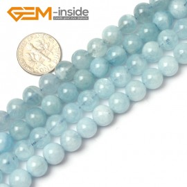"G1268 8mm Round Gemstone Blue Aquamarine DIY Jewelry Making  Beads Strand 15""Free Shipping Natural Stone Beads for Jewelry Making Wholesale"
