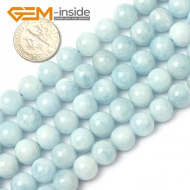 "G1269 9mm Round Gemstone Blue Aquamarine DIY Jewelry Making  Beads Strand 15""Free Shipping Natural Stone Beads for Jewelry Making Wholesale"