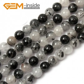 G1370 10mm Round Gemstone Black Rutilated Quartz Beads Jewelry Making Loose Beads Strand 15 Natural Stone Beads for Jewelry Making Wholesale
