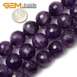 """G1424 18mm Round Faceted Gemstone Purple Amethyst Beads Jewelry Making Loose Beads15"""" Natural Stone Beads for Jewelry Making Wholesale"""