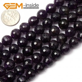 """G1428 10mm Round Faceted Gemstone Purple Amethyst Beads Jewelry Making Loose Beads15"""" Natural Stone Beads for Jewelry Making Wholesale"""