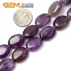 "G1444 12x16mm Natural Oval Gemstone Amethyst Beads Strand 15""Jewelry Making Loose Beads Gbeads Natural Stone Beads for Jewelry Making Wholesale"