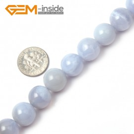 "G1457 12mm Round Gemstone Blue Chalcedony Beads Jewelry Making Stone Loose Beads Strand 15"" Natural Stone Beads for Jewelry Making Wholesale"