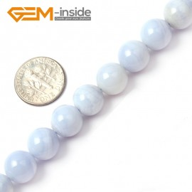 "G1459 10mm Round Gemstone Blue Chalcedony Beads Jewelry Making Stone Loose Beads Strand 15"" Natural Stone Beads for Jewelry Making Wholesale"