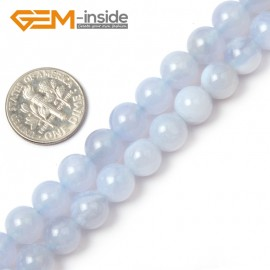 "G1460 8mm Round Gemstone Blue Chalcedony Beads Jewelry Making Stone Loose Beads Strand 15"" Natural Stone Beads for Jewelry Making Wholesale"