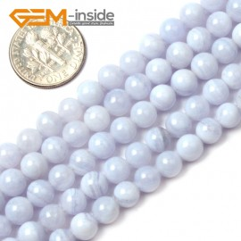 "G1462 6mm Round Gemstone Blue Chalcedony Beads Jewelry Making Stone Loose Beads Strand 15"" Natural Stone Beads for Jewelry Making Wholesale"