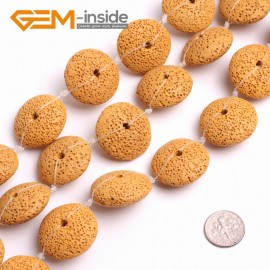 """G15002 Yellow 27mm Disc Shape Lava Rock Beads Jewellery Making Gemstone Beads 15"""" 9 Colors Natural Stone Beads for Jewelry Making Wholesale"""
