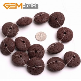 """G15007 Dark Brown 27mm Disc Shape Lava Rock Beads Jewellery Making Gemstone Beads 15"""" 9 Colors Natural Stone Beads for Jewelry Making Wholesale"""