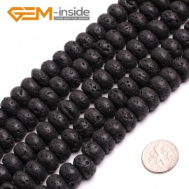 """G15013 8x12mm Rondelle Black Lava Rock Jewelry Making Gemstone Loose Beads 15"""" Free Shipping Natural Stone Beads for Jewelry Making Wholesale"""