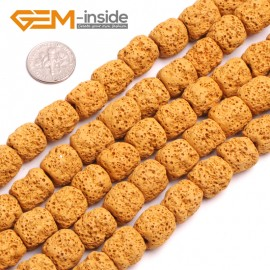 """G15020 Yellow Free Shipping Cloumn Lava Rock Beads Jewelry Making Beads Strand 15"""" 12x14mm Natural Stone Beads for Jewelry Making Wholesale"""