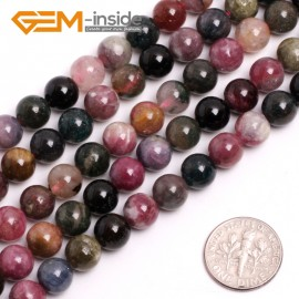 "G15023 8mm Natural Round Mixed Color Tourmaline Gemstone Jewelry Making Loose Beads 15""Natural Stone Beads for Jewelry Making Wholesale`"