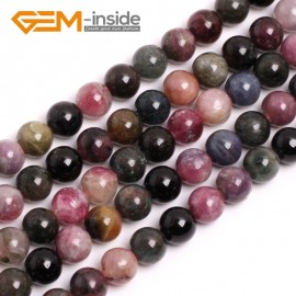 "G15025 12mm Natural Round Mixed Color Tourmaline Gemstone Jewelry Making Loose Beads 15""Natural Stone Beads for Jewelry Making Wholesale`"