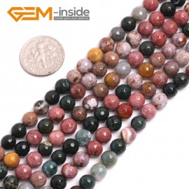 "G15031 6mm Natural Round Facetd Ocean Jasper Beads Jewellery Making Loose Beads15"" Gbeads Natural Stone Beads for Jewelry Making Wholesale"