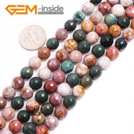 "G15032 8mm Natural Round Facetd Ocean Jasper Beads Jewellery Making Loose Beads15"" Gbeads Natural Stone Beads for Jewelry Making Wholesale"